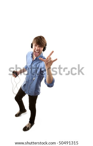 Tall handsome hipster man on white background with Headphones - stock photo
