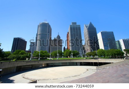 Tall high raise buildings in Downtown Detroit - stock photo