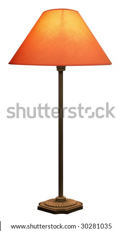 Tall Lamp with Orange shade isolated with clipping path
