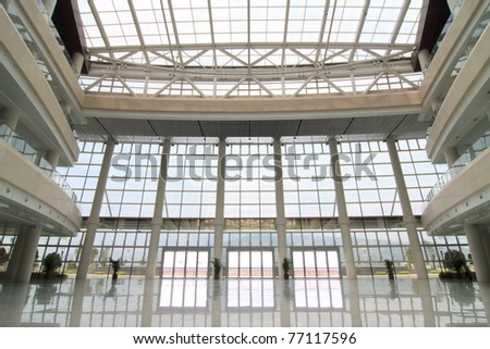 Tall lobby in the waiting hall - stock photo