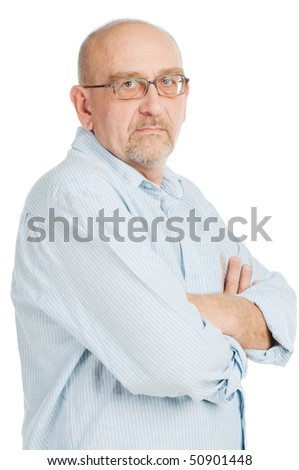 Tall mature man posing on white background