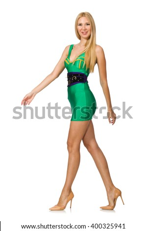Tall model in mini green dress isolated on white