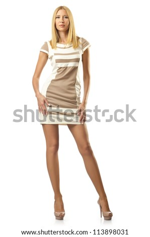 Tall model isolated on white - stock photo