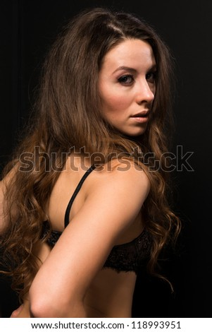 Tall Moldovan woman in pink and brown lingerie