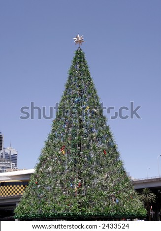 Tall Outdoor Christmas Tree With Decoration, Summer in Sydney, Australia