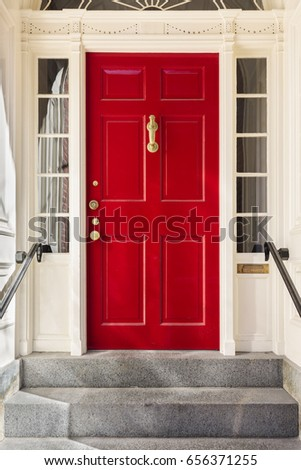 Tall red front door