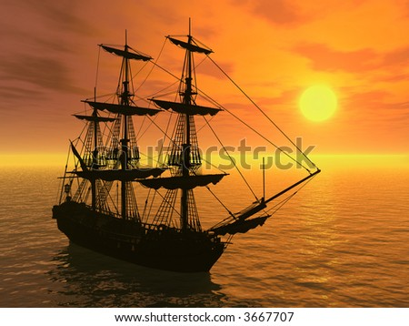 Tall Ship at Sunset - 3D render