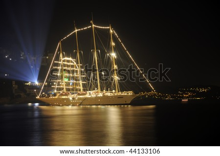 Tall ship in the harbor of Dubrovnik at night. - stock photo