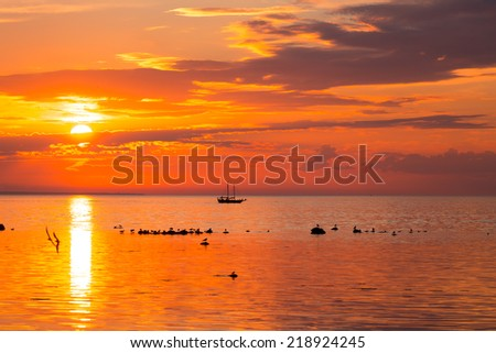 tall ship sailing along skyline during sunset - stock photo