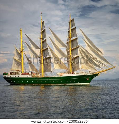Tall Ship under sail. Series yachting and sailing - stock photo