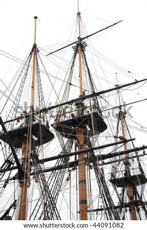 Tall ships masts - stock photo