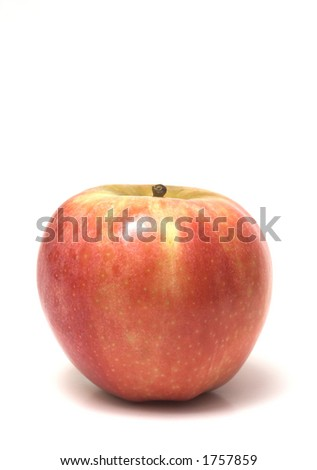 tall shot of red apple with copy space isolated on white