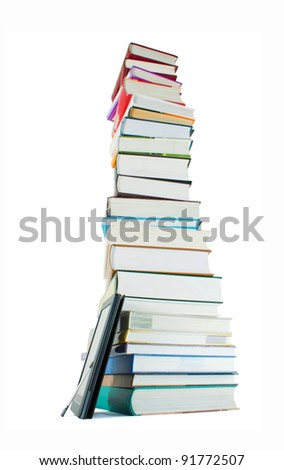 Tall stack of books and e-book reader on the white background - stock photo