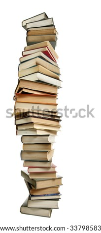 Tall stack of books isolated over white background - stock photo