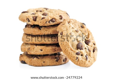 Tall stack of chocolate chip cookies isolated on white background - stock photo