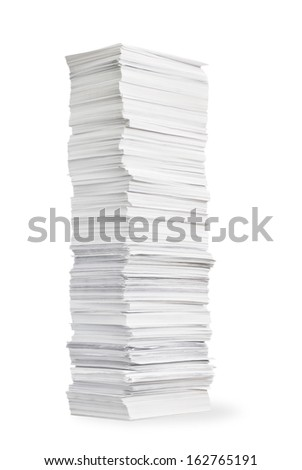 Tall stack of paper on white background - stock photo