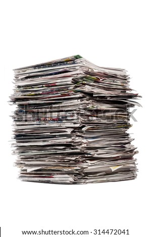 Tall Stack Of Used Newspapers Isolated On White/ Tall Stack Of Newspapers - stock photo