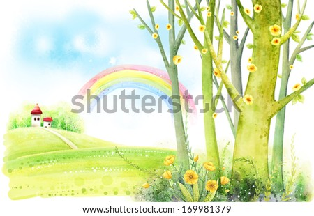Tall trees and a rainbow with a house in the distance. - stock photo