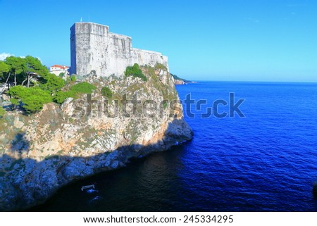 Tall walls of the Lovrijenac fort above the Adriatic sea, Dubrovnik, Croatia