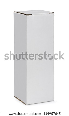 Tall white cardboard box isolated on white - stock photo