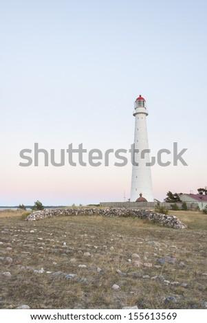 Tall white Tahkuna lighthouse in Hiiumaa, Estonia - stock photo