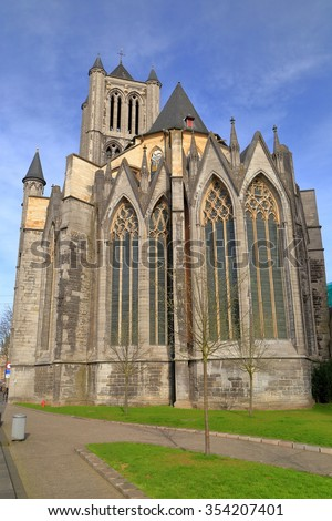 Tall windows of the Gothic church of St Nicholas in Ghent, Belgium - stock photo