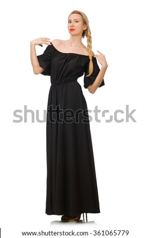 Tall woman in long black dress isolated on white - stock photo
