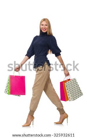 Tall woman with plastic bags isolated on white