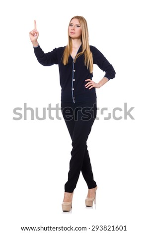Tall young woman in black clothing isolated on white