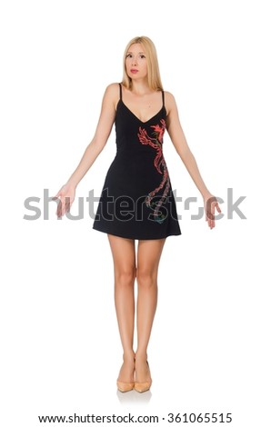 Tall young woman in black dress isolated on white - stock photo