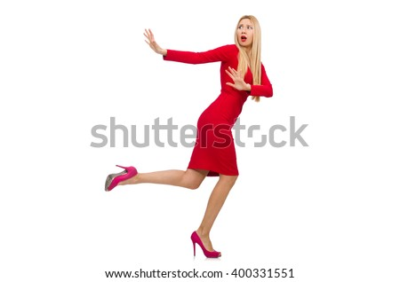 Tall young woman in red dress isolated on white - stock photo
