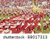 TALLAHASSEE, FL - OCT. 22: Florida State Marching Chiefs Band performs at half-time at FSU football game. The Marching Chiefs is the largest college marching band in the world on Oct. 22, 2011. - stock photo