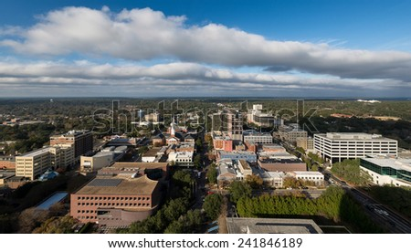 TALLAHASSEE, FLORIDA - DECEMBER 5: Downtown Tallahassee from the observation deck (22nd Floor) of the Florida State Capitol building on December 5, 2014 in Tallahassee, Florida - stock photo