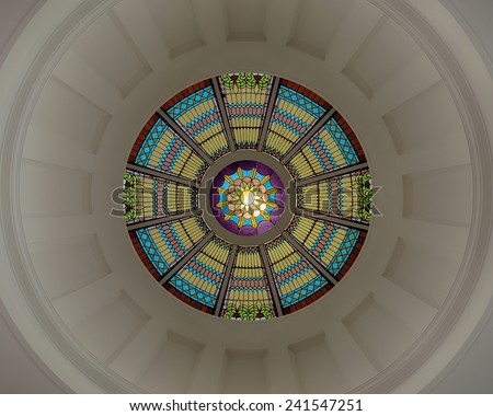 TALLAHASSEE, FLORIDA - DECEMBER 5: Inner dome from the rotunda floor of the Old Florida State Capitol building on December 5, 2014 in Tallahassee, Florida - stock photo