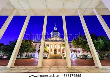 Tallahassee, Florida, USA at the historic Florida State Capitol Building. - stock photo