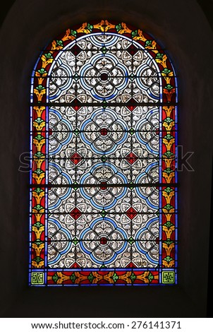 TALLARD, FRANCE - APRIL 12, 2015: Stained glass. The Church Saint-Gragoire is a monument in the municipality of Tallard and an attraction for holidaymakers staying in the region. - stock photo