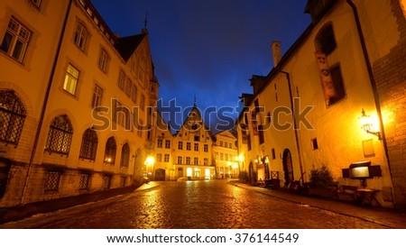 Tallin city streets by night. Estonia - stock photo