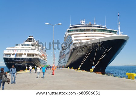 "Tallin, Estonia-July 07, 2017: Holland America cruise ships ""Prinsendam"" and ""Zuiderdam""at dock in Tallin, Estonia"
