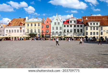 TALLIN,ESTONIA - JULY 22:Tallin Old town on july 22,2010.With a population of 431000 It is situated on the northern coast of Estonia.It's Old Town is listed as a UNESCO World Heritage Sites - stock photo