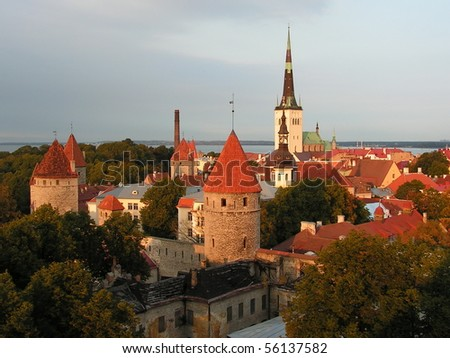 Tallinn - capital of Estonia; view over the Old Town; the Tallinn Old Town became a UNESCO World Cultural Heritage site in 1997 - stock photo