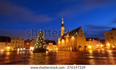 Tallinn central square and the city Hall by night. Estonia - stock photo