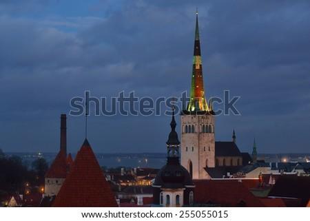 Tallinn city by dusk. Estonia - stock photo