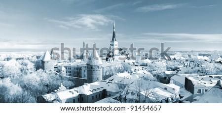 Tallinn city. Estonia. Snow on trees in winter, panoramic view - stock photo