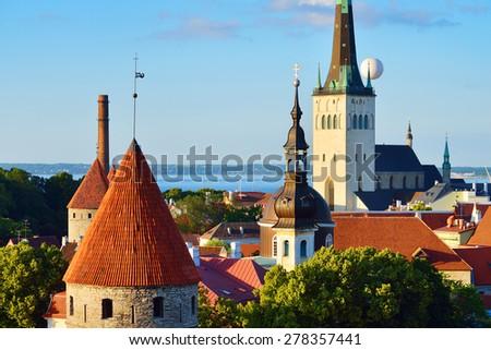 Tallinn city. Estonia. Summer panoram view - stock photo