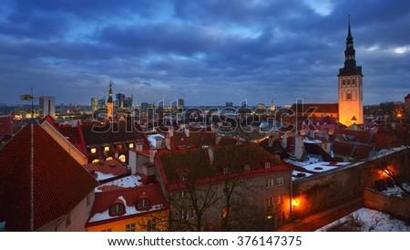 Tallinn city, Estonia. Winter panoram view by night - stock photo