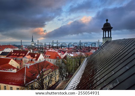 Tallinn city, Estonia. Winter panoramic view by dusk - stock photo