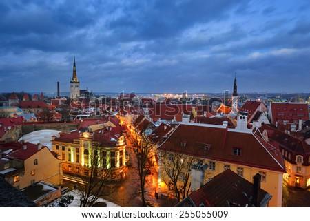 Tallinn city, Estonia. Winter panoramic view by night - stock photo