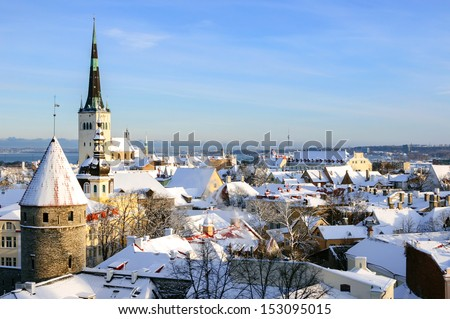 Tallinn city panoramic winter landscape. Estonia - stock photo
