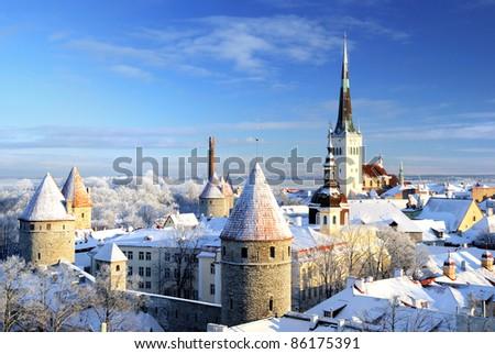 Tallinn city panoramic winter landscape. Estonia. - stock photo