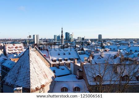 Tallinn city panoramic winter view (Estonia) - stock photo